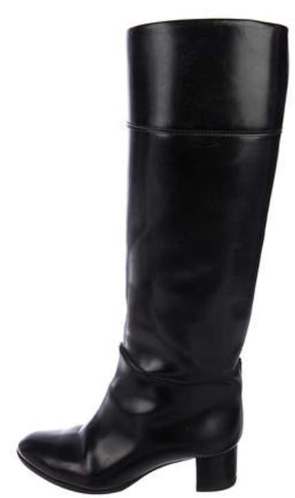 dc04b7122f1 Leather Knee-High Boots Black Leather Knee-High Boots