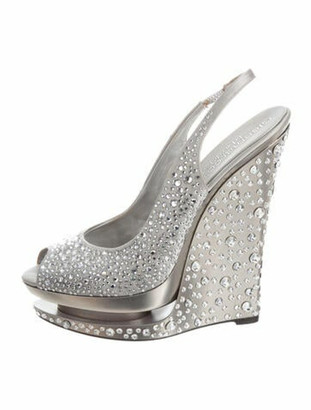 Gianmarco Lorenzi Crystal Embellishments Slingback Sandals Grey