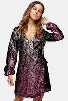 Topshop Womens Petite Ombre Sequin Wrap Dress - Pink