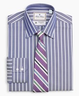 Brooks Brothers Luxury Collection Milano Slim-Fit Dress Shirt, Franklin Spread Collar Herringbone Wide Stripe