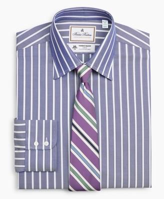 Brooks Brothers Luxury Collection Milano Slim-Fit Dress Shirt, Franklin Spread Collar Herringbone Wide Stripe