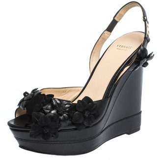 Versace Black Leather And Suede Flower Embellished Wedge Platform Slingback Sandals Size 37