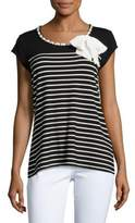 Karl Lagerfeld Striped Bow-Accented Top