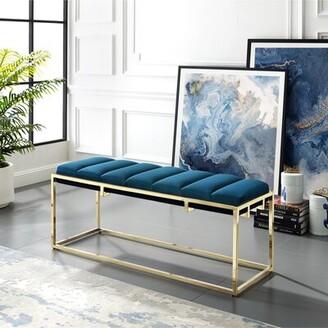 Nicole Miller Kylen Upholstered Bench Color: Navy/Gold