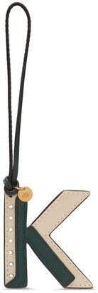 Mulberry Bi-Colour Leather Keyring - K Green and Chalk Silky Calf