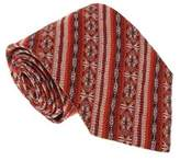 Missoni U3681 Red/silver Awning 100% Silk Tie.