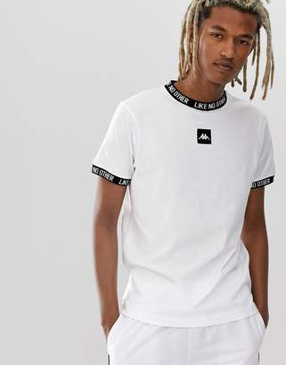 Kappa Authentic Basco t-shirt with jacquard neck and sleeve and chest logo in white