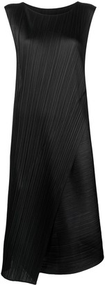 Pleats Please Issey Miyake Asymmetric Pleated Midi Dress