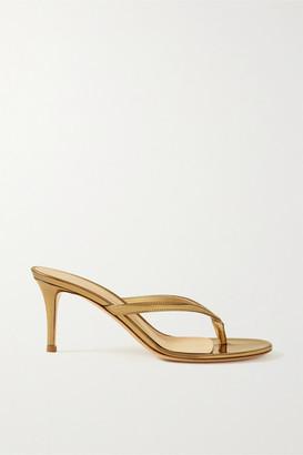 Gianvito Rossi Calypso 70 Metallic Leather Sandals - Gold