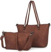 UTO Women Shoulder Bag 2 Piece Tote Bag PU Leather Handbag Purse Bags Set Beige