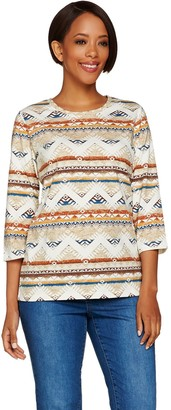 Denim & Co. 3/4 Sleeve Southwestern Printed Top