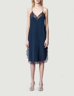 Zadig & Voltaire Closer lace-trimmed silk midi dress