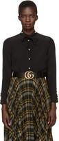 Gucci Black Silk Flounce Shirt