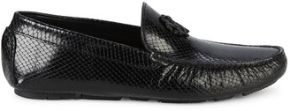 Roberto Cavalli Firenze Snakeskin-Print Leather Drivers