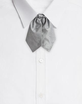 Dolce & Gabbana Tie-Print Silk Jacquard Bow Tie With Bow Accent