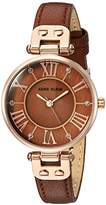 Anne Klein Women's AK/2718RGBN Glitter-Accented Rose Gold-Tone and Brown Leather Strap Watch