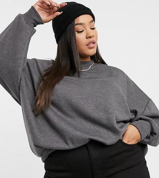 ASOS DESIGN Curve oversized cosy cocoon sweatshirt in charcoal marl