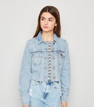 New Look Girls Ripped Crop Denim Jacket