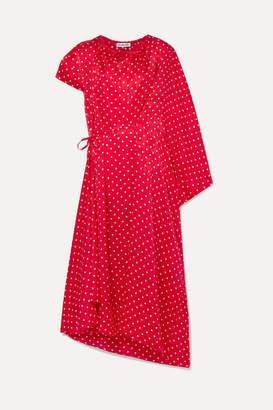 Balenciaga Typo Draped Asymmetric Polka-dot Silk Satin-jacquard Midi Dress - Red