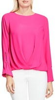 Vince Camuto Women's Flutter Cuff Fold Front Blouse