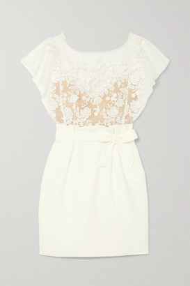 Rime Arodaky Baker Embroidered Tulle And Crepe Mini Dress - White