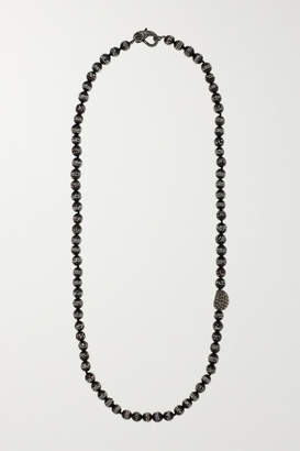 Loree Rodkin Oxidized Sterling Silver, Wood And Diamond Necklace
