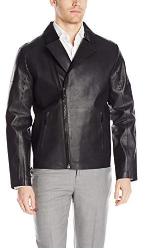 Calvin Klein Men's Laser Cut Leather Jacket