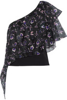 Sachin + Babi Alba One-Shoulder Floral-Print Voile And Stretch-Cady Top