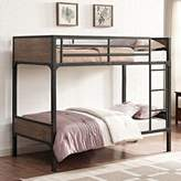 Walker Edison Rustic Industrial Twin-Over-Twin Bunk Bed in Brown