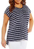Vince Camuto Two By Plus Uneven Stripe Tee