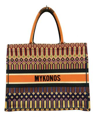 Christian Dior Book Tote Orange Cotton Handbags