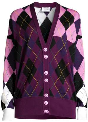 Escada Sport Salminen Wool Check Argyle Cardigan