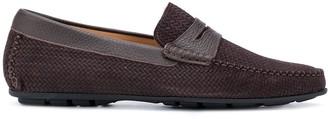 Corneliani Woven Penny Loafers