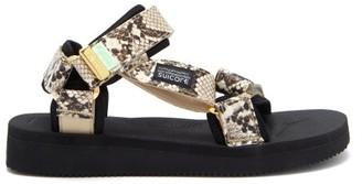 Suicoke Depa-v2 Snake-effect Velcro-strap Sandals - White Multi