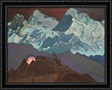 Art-Direct ArtDirect Fire Blossom 36x28 Large Black Ornate Wood Framed Canvas Art by Nicholas Roerich