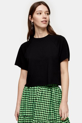 Topshop Womens Black Raglan Crop T-Shirt - Black