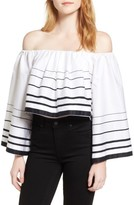 KENDALL + KYLIE Women's Stripe Off The Shoulder Top