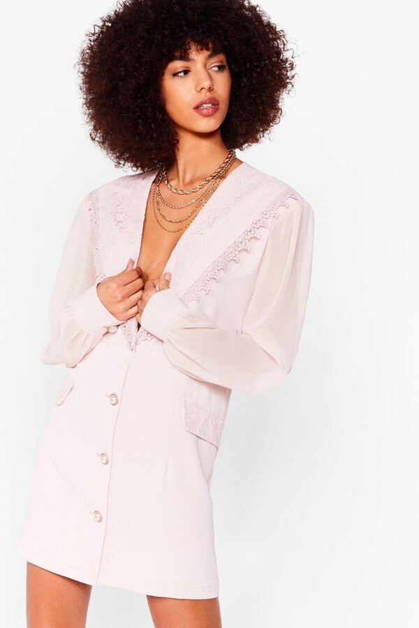 Thumbnail for your product : Nasty Gal Womens Deep Plunge Mesh Blazer Dress