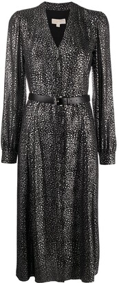 MICHAEL Michael Kors V-neck metallic print dress