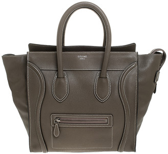 Celine Olive Green Leather Mini Luggage Tote