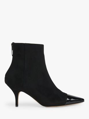 LK Bennett Athena Leather Stiletto Heel Ankle Boots, Black