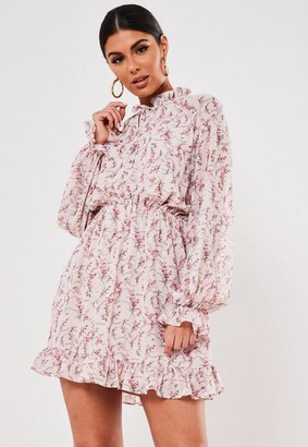Missguided Blush Floral High Neck Heyhole Smock Dress