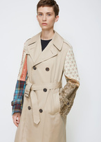 Junya Watanabe Khaki Mix Mixed Media Sleeve Trench