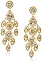 Miguel Ases Large Circle Swarovski Framed Marquise Petal Chandelier Drop Earrings