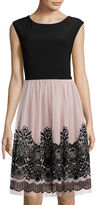 Tiana B Cap-Sleeve Lace-Overlay Fit-and-Flare Dress - Tall
