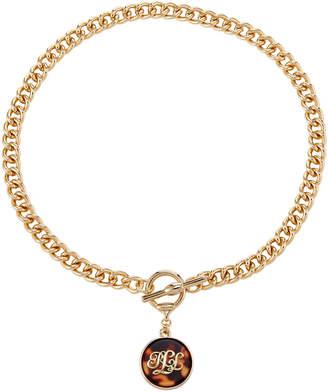 Lauren Ralph Lauren Gold-Tone & Tortoiseshell-Look Logo Pendant Necklace