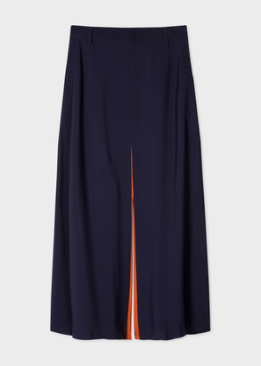 Paul Smith Women's Navy Midi Skirt With Orange Trims