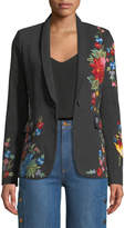 Alice + Olivia Macey One-Button Floral-Embroidered Denim Jacket