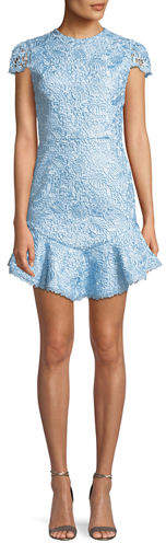 Alice + Olivia Rapunzel Curved-Hem Lace Fit-and-Flare Dress
