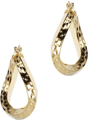 "Veronese 18K Clad 3/4"" Knife-Edge Wavy Hoop Earrings"